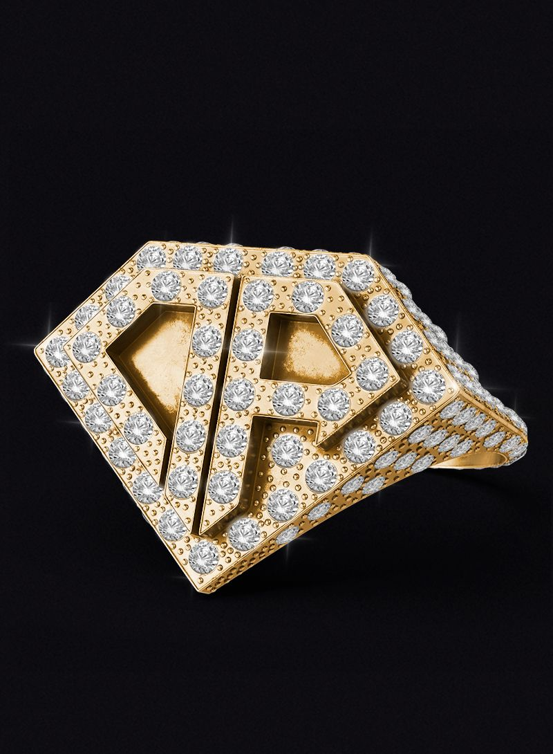 0800 Don Rouch Pave Full Ice Gold Ring Rings Gold