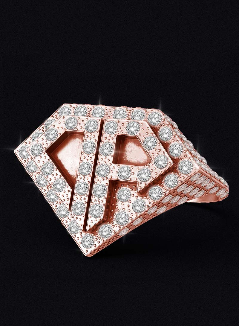 0800 Don Rouch Pave Full Ice Rose Gold Ring Rings Rose Gold